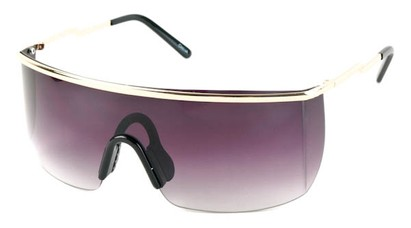Angle of SW Shield Style #1715 in Gold Frame with Smoke Lenses, Women's and Men's