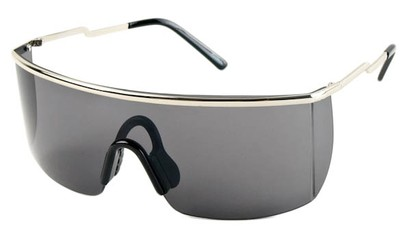Angle of SW Shield Style #1715 in Silver Frame with Blue/Grey Lenses, Women's and Men's