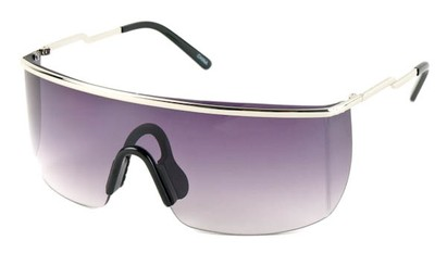 Angle of SW Shield Style #1715 in Silver Frame with Rose Lenses, Women's and Men's
