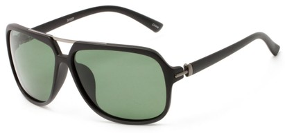 Angle of Flathead #3055 in Matte Black Frame with Green Lenses, Women's and Men's Aviator Sunglasses