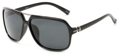 Angle of Flathead #3055 in Glossy Black Frame with Grey Lenses, Women's and Men's Aviator Sunglasses