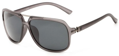 Angle of Flathead #3055 in Frosted Grey Frame with Grey Lenses, Women's and Men's Aviator Sunglasses