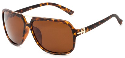 Angle of Flathead #3055 in Matte Tortoise Frame with Amber Lenses, Women's and Men's Aviator Sunglasses
