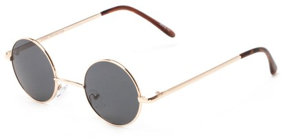 Angle of London #1707 in Gold Frame with Grey Lenses, Women's and Men's Round Sunglasses