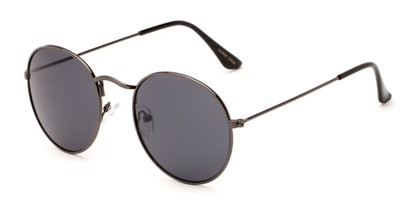 Angle of Ofarrell #31040 in Grey Frame with Grey Lenses, Women's and Men's Round Sunglasses