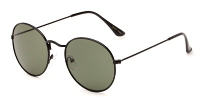 Angle of Ofarrell #31040 in Black Frame with Green Lenses, Women's and Men's Round Sunglasses