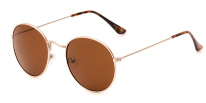 Angle of Ofarrell #31040 in Gold Frame with Amber Lenses, Women's and Men's Round Sunglasses