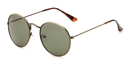 Angle of Ofarrell #31040 in Dark Gold Frame with Green Lenses, Women's and Men's Round Sunglasses
