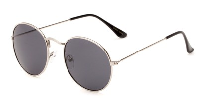 Angle of Ofarrell #31040 in Silver Frame with Grey Lenses, Women's and Men's Round Sunglasses