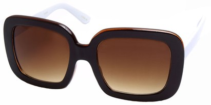 Angle of SW Square Style #420 in Brown and White Frame, Women's and Men's
