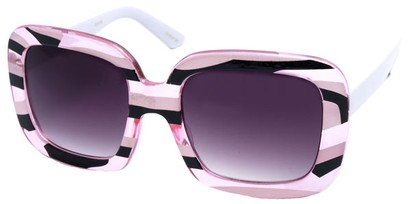 Angle of SW Square Style #420 in Pink and Black Stripe Frame, Women's and Men's