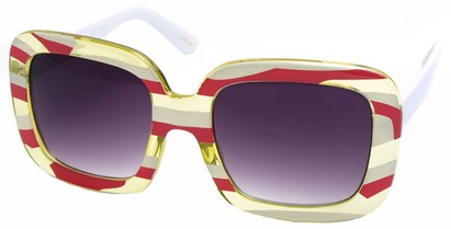 Angle of SW Square Style #420 in Pink and Yellow Stripe Frame, Women's and Men's
