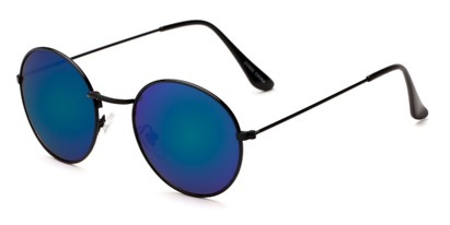 Angle of Harper #3107 in Black Frame with Blue/Green Mirrored Lenses, Women's and Men's Round Sunglasses