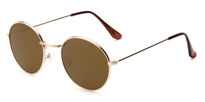 Angle of Harper #3107 in Gold Frame with Gold Mirrored Lenses, Women's and Men's Round Sunglasses