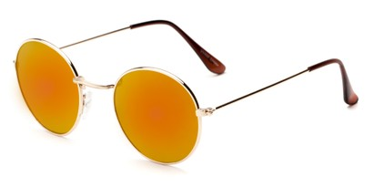 Angle of Harper #3107 in Gold Frame with Orange Mirrored Lenses, Women's and Men's Round Sunglasses