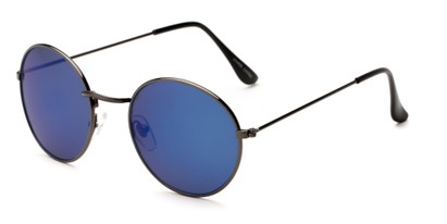 Angle of Harper #3107 in Grey Frame with Blue Mirrored Lenses, Women's and Men's Round Sunglasses