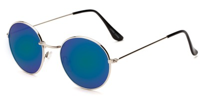 Angle of Harper #3107 in Silver Frame with Blue/Green Mirrored Lenses, Women's and Men's Round Sunglasses