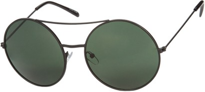 Angle of Bivy #2531 in Black Frame with Green Lenses, Women's and Men's Aviator Sunglasses