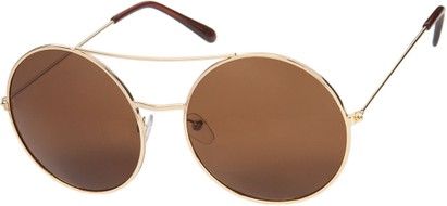 Angle of Bivy #2531 in Gold Frame with Amber Lenses, Women's and Men's Aviator Sunglasses