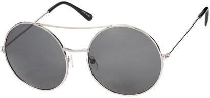 Angle of Bivy #2531 in Silver Frame with Grey Lenses, Women's and Men's Aviator Sunglasses