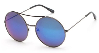 Angle of Indy #3108 in Grey Frame with Blue Mirrored Lenses, Women's and Men's Round Sunglasses