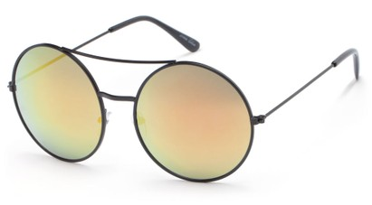 Angle of Indy #3108 in Matte Black Frame with Yellow Mirrored Lenses, Women's and Men's Round Sunglasses