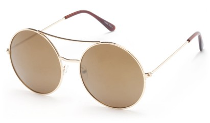 Angle of Indy #3108 in Gold Frame with Amber Mirrored Lenses, Women's and Men's Round Sunglasses