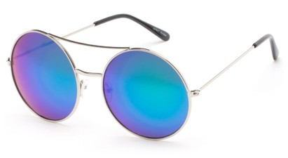 Angle of Indy #3108 in Silver Frame with Blue/Green Mirrored Lenses, Women's and Men's Round Sunglasses