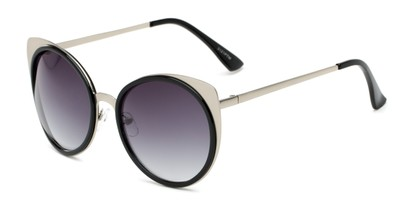 Angle of Linden #3121 in Silver/Black Frame with Grey Lenses, Women's Cat Eye Sunglasses