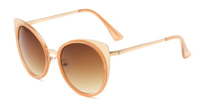 Angle of Linden #3121 in Gold/Orange Frame with Amber Lenses, Women's Cat Eye Sunglasses