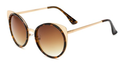 Angle of Linden #3121 in Gold/Tortoise Frame with Amber Lenses, Women's Cat Eye Sunglasses