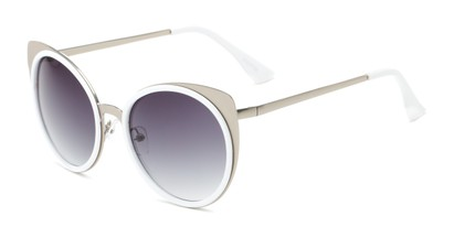 Angle of Linden #3121 in Silver/White Frame with Grey Lenses, Women's Cat Eye Sunglasses