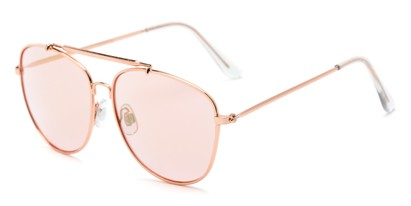 Angle of Viking #3122 in Rose Gold Frame with Pink Lenses, Women's and Men's Aviator Sunglasses