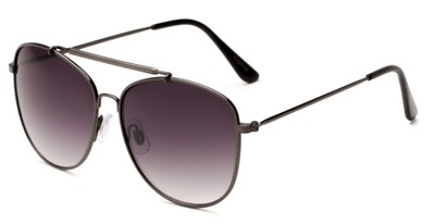 Angle of Viking #3122 in Grey Frame with Smoke Gradient Lenses, Women's and Men's Aviator Sunglasses