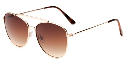 Angle of Viking #3122 in Gold Frame with Amber Gradient Lenses, Women's and Men's Aviator Sunglasses