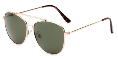 Angle of Viking #3122 in Gold Frame with Green Gradient Lenses, Women's and Men's Aviator Sunglasses
