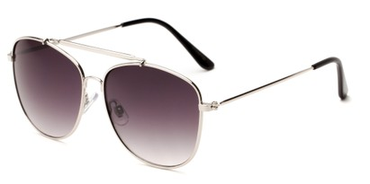 Angle of Viking #3122 in Silver Frame with Smoke Gradient Lenses, Women's and Men's Aviator Sunglasses