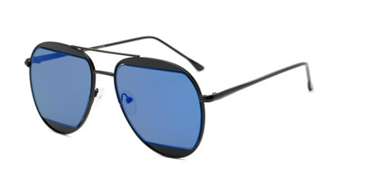 Angle of Daniels #3125 in Matte Black Frame with Blue Mirrored Lenses, Women's and Men's Aviator Sunglasses