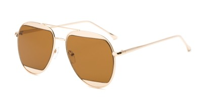 Angle of Daniels #3125 in Glossy Gold Frame with Amber Lenses, Women's and Men's Aviator Sunglasses