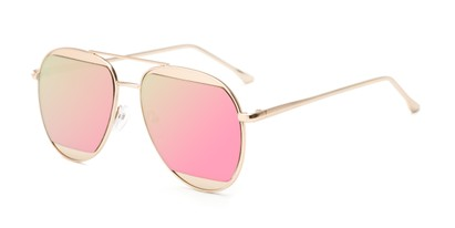 Angle of Daniels #3125 in Matte Gold Frame with Pink Mirrored Lenses, Women's and Men's Aviator Sunglasses