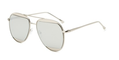 Angle of Daniels #3125 in Matte Silver Frame with Silver Mirrored Lenses, Women's and Men's Aviator Sunglasses