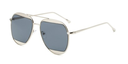 Angle of Daniels #3125 in Glossy Silver Frame with Grey Lenses, Women's and Men's Aviator Sunglasses