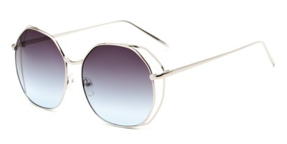 Angle of Perry #3126 in Silver Frame with Blue Lenses, Women's Round Sunglasses