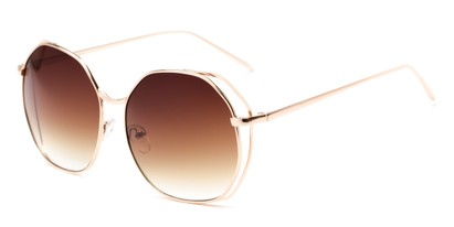 Angle of Perry #3126 in Gold Frame with Amber Lenses, Women's Round Sunglasses