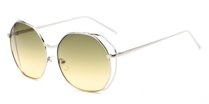 Angle of Perry #3126 in Silver Frame with Green Lenses, Women's Round Sunglasses