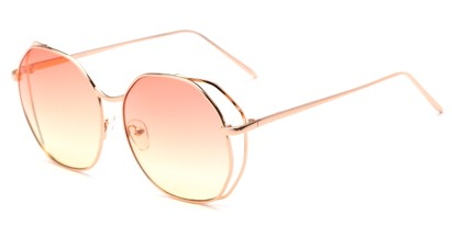 Angle of Perry #3126 in Rose Gold Frame with Pink/Yellow Lenses, Women's Round Sunglasses
