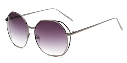 Angle of Perry #3126 in Grey Frame with Smoke Lenses, Women's Round Sunglasses