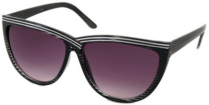 Angle of SW Cat Eye Style #1162 in Black Stripe Frame, Women's and Men's
