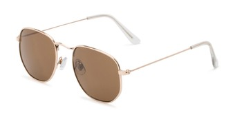 Angle of Averitt #3129 in Gold Frame with Amber Lenses, Women's and Men's Round Sunglasses