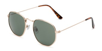 Angle of Averitt #3129 in Gold Frame with Green Lenses, Women's and Men's Round Sunglasses